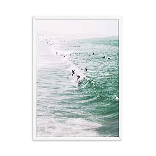 Aishangjia Carteles e Impresiones de la Pared del Paisaje de la Tabla de Surf de la Playa del mar nórdico Rosado Pintura de la Lona Cartel del Arte de la Pared Imágenes Decoración 50x70 cm C-897
