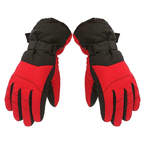 Nlager Thermal Gloves Adjustable Snowboard Gloves Unisex Kids Waterproof Breathable Snowboard for Children Outdoor Skiing Hiking Red-L