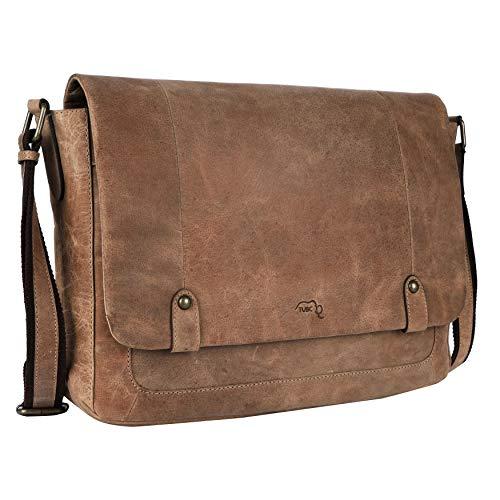 TUSC Charon Hellbraun Leder Tasche Vintage Laptoptasche 15,6 Zoll 14 Zoll Herren Damen Unisex Umhängetasche Aktentasche Schultertasche für Büro Notebook Messenger Bag Laptop iPad, 38x28x9cm