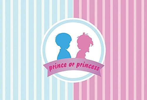 Fondo de fotografía de príncipe o Princesa de revelación de género Fiesta de recién Nacido bebé niña o niño Accesorios de Fondo de Disparo A13 7x5ft / 2,1x1,5 m