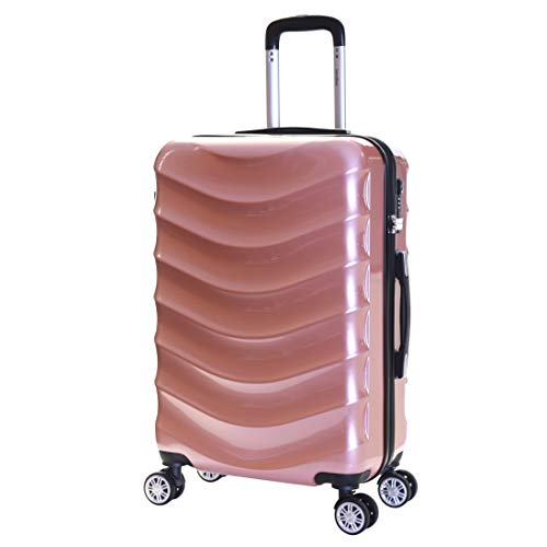 Karabar Hard Shell Medium Large Suitcase Luggage Bag 66 cm 3.4 kg 65 litres Polycarbonate PC with 4 Spinner Wheels and Integrated TSA Number Lock, Ripple Rose Gold
