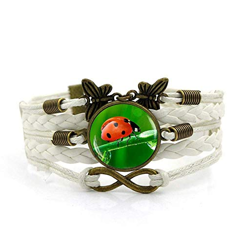 QZH Woven Bracelets For Girls,White Rope Green Seven-Spot Ladybug Animal,Time Gemstone Bracelet Multi-Layer Hand-Woven Glass Combination Jewelry Ladies Fashion European And American Style Jewelry