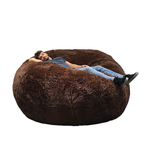Riesiger Sitzsack, 180 cm Durchmesser, XXL, mit Schaumstoff, sehr komfortabel, Sofa, Doppelbezüge, maschinenwaschbar, Birne, Kissen, Sofa (Schokolade)