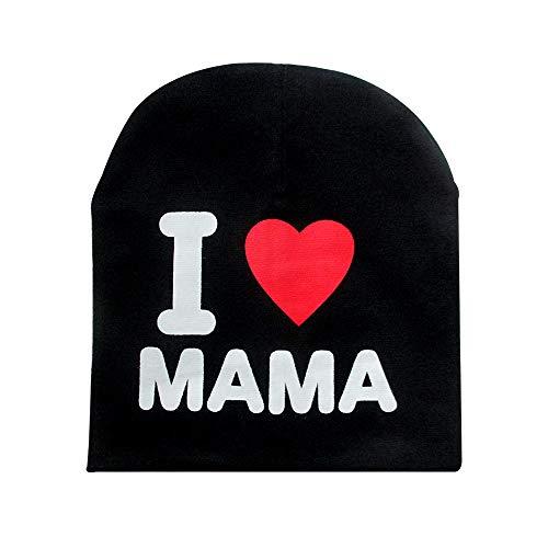 styleinside Chapeau Bébé, I Love Mama/Papa Lettre Imprimer Bonnet Fille Bonnet Fille Élastique Chapeau Extérieur Crâne, Noir