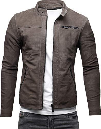 Crone Epic Herren Lederjacke Cleane Leichte Basic Jacke aus weichem Rindsleder (M, Togo (Nubukleder))