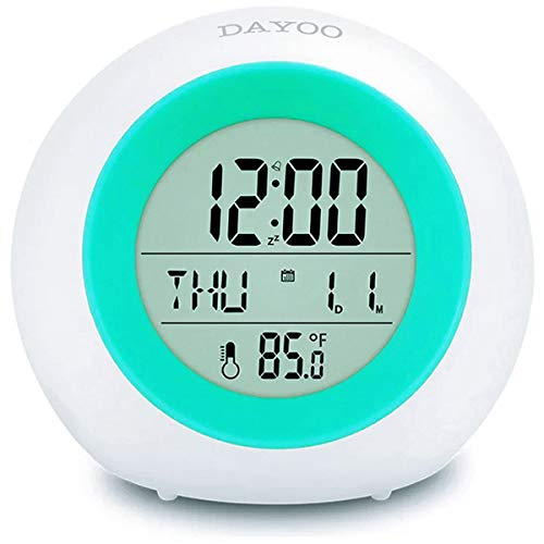 Kids Alarm Clock, TeaRoo LED Digital Clock for Boys Girls, 7 Color Changing Night Light Clock for Kids Bedroom Bedside, Children's Clock with Indoor Temperature, Touch Control and Snooze, Gift for Kid