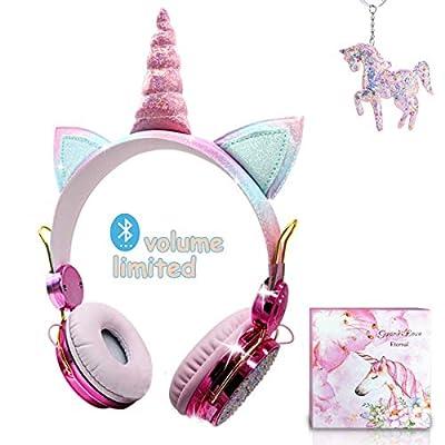 Auriculares Bluetooth con Orejas de Gato para Niña,Auriculares Infantiles Unicornio con Micrófonos,Limitación de Volumen a 85 dB,para iPad iPhone Android PC Player (Inalámbrico)
