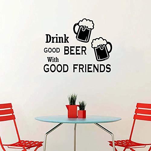 Amistad Etiqueta de la pared Bebida Cerveza Cocina Comedor Vinilo con buenos amigos
