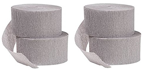 DENNECREPE Gray Crepe Paper Streamers 290 ft Total, Made in USA