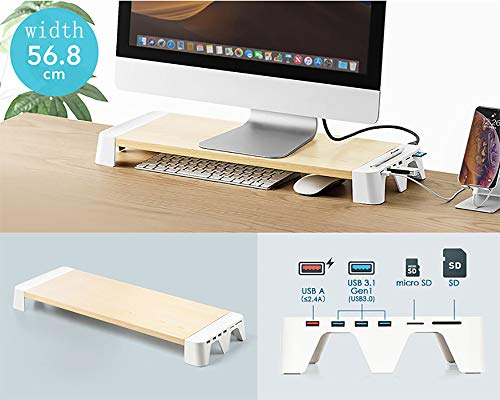 VIVOCFan houten bureau monitorstandaard riser, USB 3.0-hub laptop standaard riser, laadaansluiting laptopstandaard riser met Sd, Micro Sd voor laptop Apple Imac Pc houtnerf 56,8 x 20,3 x 5,5 cm (22 x 8 x 2 inch)