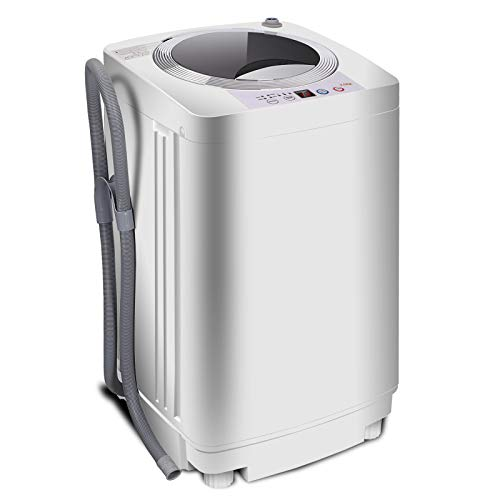SUPER DEAL PRO Portable Full-Automatic Washing Machine 1.6 Cu. ft. Spacious Load 2in1 Washer&Spinner w/Drain Pump and Long Hose