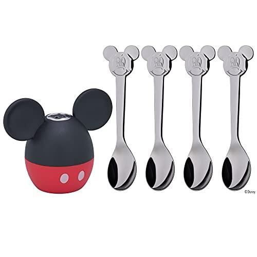 WMF Disney Mickey Mouse Streuer Set, 5-teilig, Salzstreuer mit 4 Löffel, Cromargan Edelstahl poliert