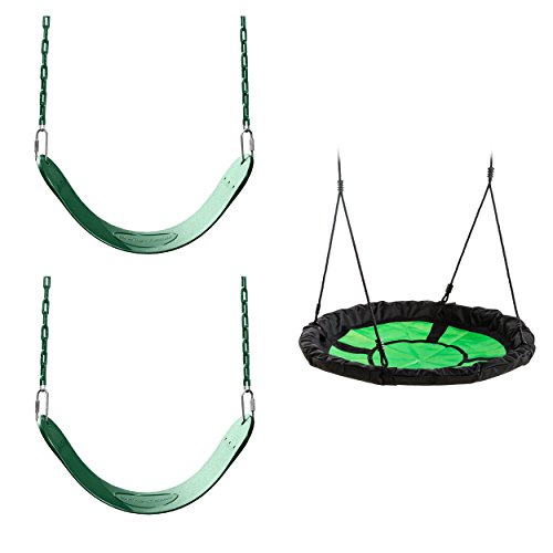 Green Swing Seat and Nest Swing Bundle - Includes 2 Green Belted Swing Seats and a Nest Swing for Swing Sets, Play Sets, etc.