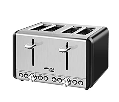 MIC Compact Toaster 4 Slice Wide Slots 6 Browning Settings Polished Stainless Steel Housing 1850 W, Cancel/Bagel/Reheat/Defrost, Removable Crumb Tray, High-Lift, Black