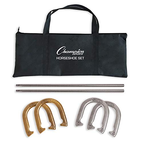 Champion Sports Classic Horseshoe Set: Traditional Outdoor Lawn Game includes Four Professional...