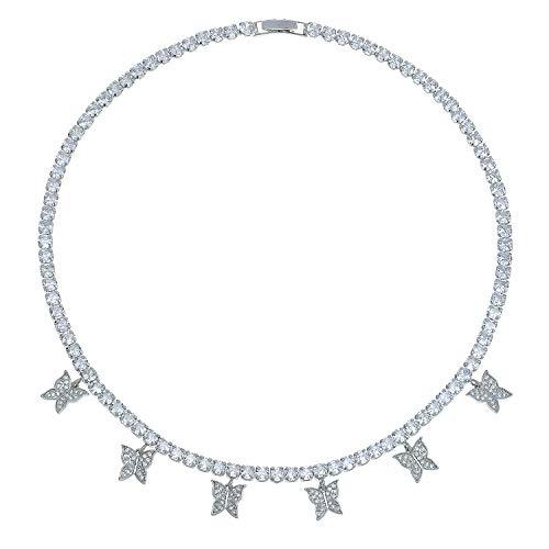 PLTGOOD - Gargantilla de Mariposa Delicada con circonitas, Collar Hecho a Mano, joyería de circonio, colección de Collar para Mujeres y niñas Plateado
