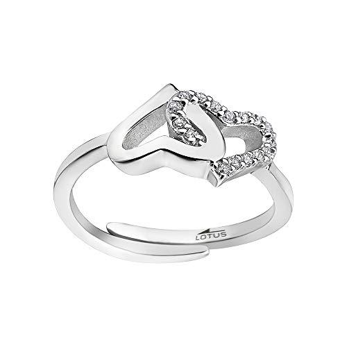 LOTUS Anillo de plata con corazones LP1594-3/1 con circonitas para mujer, plata de ley 925 JLP1594-3-1