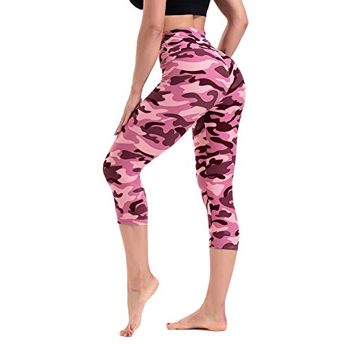 TNNZEET High Waisted Printed Leggings for Women - Buttery Soft Pattern Capri Pants for Daily Workout Party Regular & Plus Camouflage