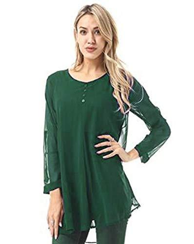 Sensiabl Modische Frauen Langarm einfarbig Hemd Tops O Hals Chiffon Bluse grün XL
