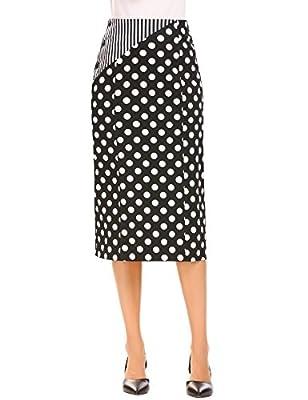 Zeagoo Women's High Waist Polka Dot Office Pencil Midi Skirt