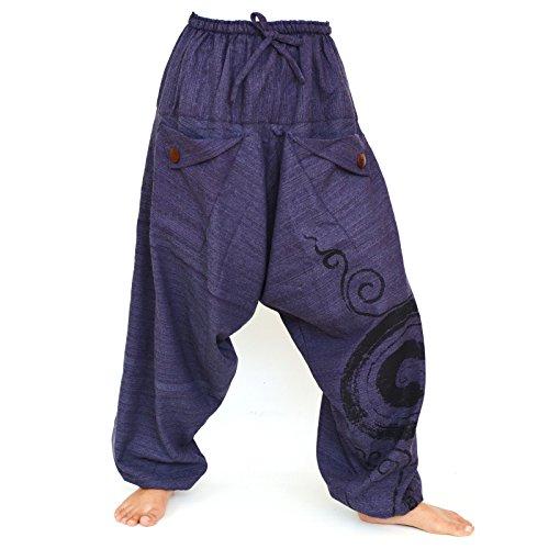 Siamrose Haremshose Damen Herren, Drop Crotch Hose, Aladin Hose, Yogahose, Bohohohose, Einheitsgröße -  Blau -  Einheitsgröße