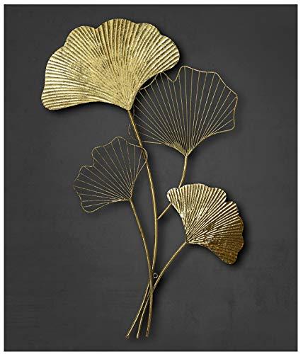 ZEYA Wanddeko Metall Gingko | 3D Deko Gold | Wanddeko Blätter | perfekte Wohnzimmer Dekoration | 46 x 75 cm
