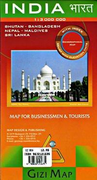 Gizi Map India / Indien, Bhutan, Bangladesh, Nepal, Malediven, Sri Lanka physische Strassenkarte, Landkarte 1:3.000.000