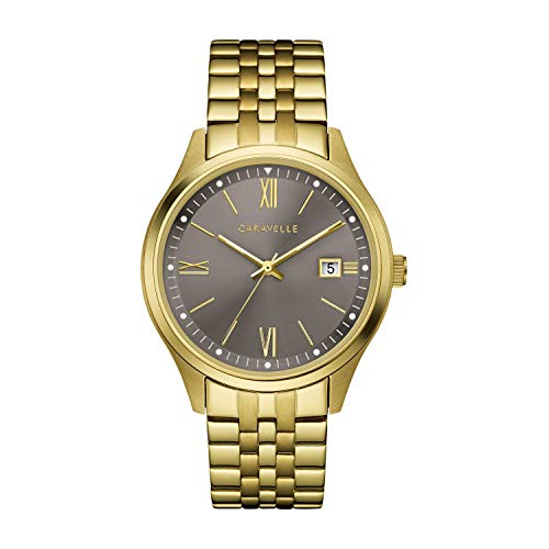 Caravelle - Reloj de Cuarzo para Hombre, Acero Inoxidable, Color Dorado (Modelo: 44B122)