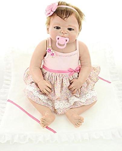 QXMEI Puppe Weiß Silikon 23inch 5cm Magnetisch Mund Sch  Naturgetreue Niedlich Junge mädchen Spielzeug