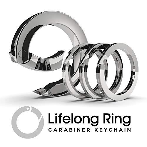Lifelong Ring 300 Series, Carabiner, Keychain, Key Ring, Charm Chain, Charm Ring, with 2 Flat Style Key Rings (Silver Chrome)