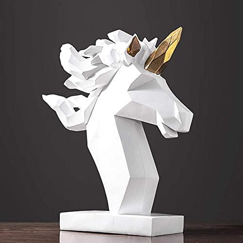 Estatuas Escultura Figuras Estatuillas, Resina Simple Creativa Origami Blanco GeometríA Unicornio Animales Arte Figura Escultura Coleccionable, Adornos ArtesaníAs De Escritorio Estatuillas De Arte Par