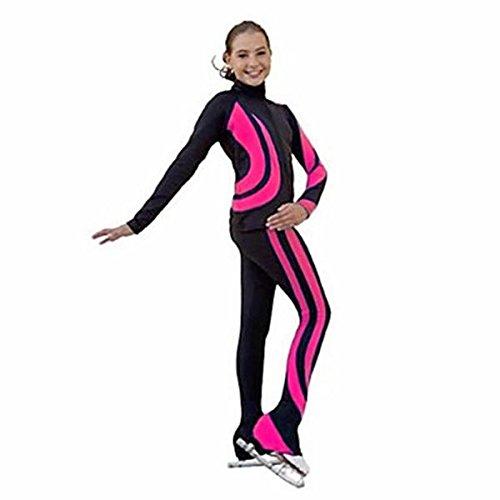 lbqbrr Fleecejacke fürs Eiskunstlaufen Damen Mädchen Eislaufen Trainingsanzug Kleidungs-Sets Weiß Purpur Fuchsia Himmelblau Dehnbar Leistung, Fuchsia, 140