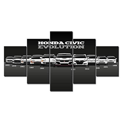 WRZWRM Wandkunst Modulare Bilder Poster Leinwand Gedruckt Honda Civic Auto Malerei Moderne Dekoration Mode Wohnzimmer
