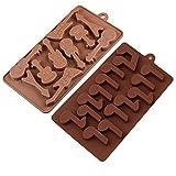 KBstore 2 Pack Moldes de Bombones de Silicona - Forma de Guitarra Nota Molde de Silicone para Chocolate/Caramelo de Café/Cubo de Hielo/Gelatina/Mini Jabon #3