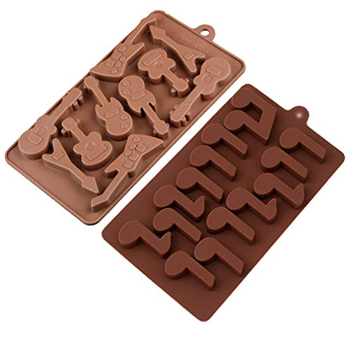 KBstore 2 Stück Silikon Schokoladenform Pralinenform - Gitarre Form und Musiksymbol Form Silikonform für Schokoladen Herstellen - Silikon backform für Schokolade/Süßigkeit/Gelee/Eiswürfel #3