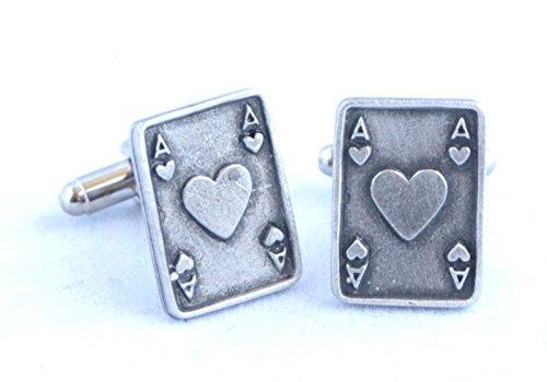 Boutons de Manchette As de Cœur Carte à Jouer avec Boîte à Cadeau