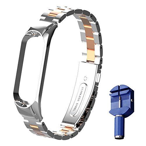 Chuanghongyuan Uhrenarmband Edelstahl für Xiaomi Mi Band 4 / Mi Band 3, Ersatzarmbänder Metallarmband Verstellbar Armband, mit Metallschnalle für Mi Band 4/Mi Band 3