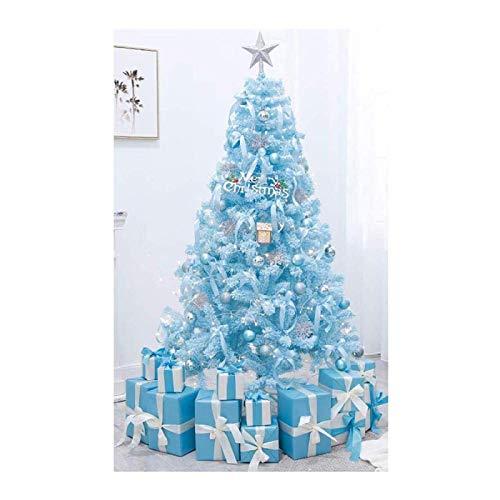 LIUSHI Árbol de Navidad Azul Adorno navideño de Alta Densidad Premium Soporte de Metal Árbol Desnudo Real Fácil de Montar con decoración navideña-2.1m Azul