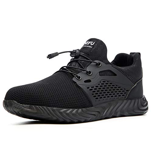 chenhe Soft Breathable Industrial Sport Sneakers,Outdoor Men Hiking Work Shoes military Tactical Combat Army Steel toe Sneakers Anti-Slip Trekking Boot-black_6.5UK