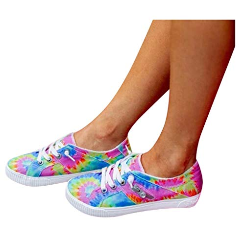 Lace-Up Canvas Shoes for Women, Tie Dye Fashion Sneakers, Summer Work Flat Shoes Walking Tennis Shoes