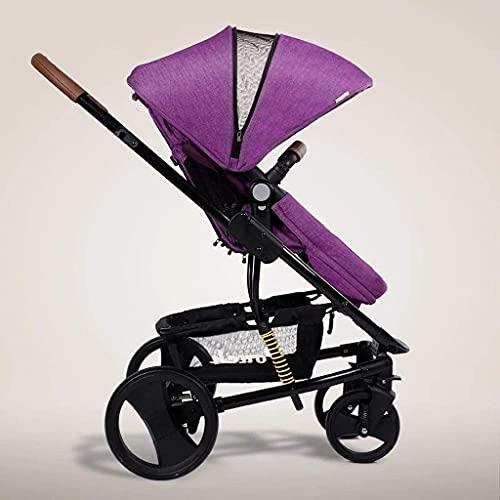 Cochecito de bebé recién nacido, ligero, fácil de plegar, cochecito de viaje compacto, incluye bolsa de viaje, diseño de un paso para abrir y plegar (color: púrpura)