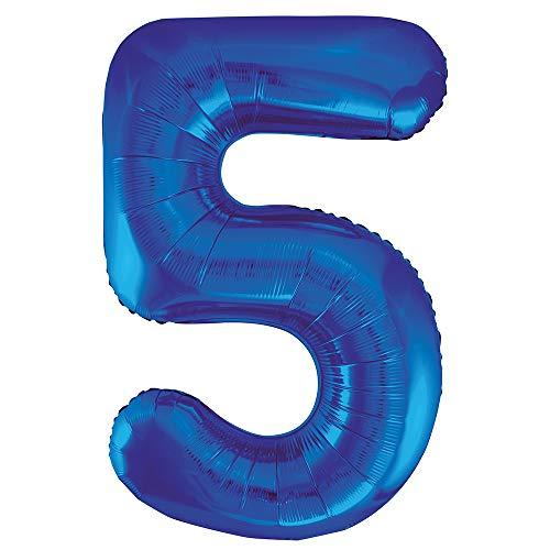 Unique Party- Globo gigante número 5, Color azul, 86 cm (55745)