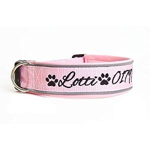 Hund&Hals – Halsband 1.0 – Handgefertigtes Hundehalsband aus Gurtband mit Neopren mit Wunschtext individuell…