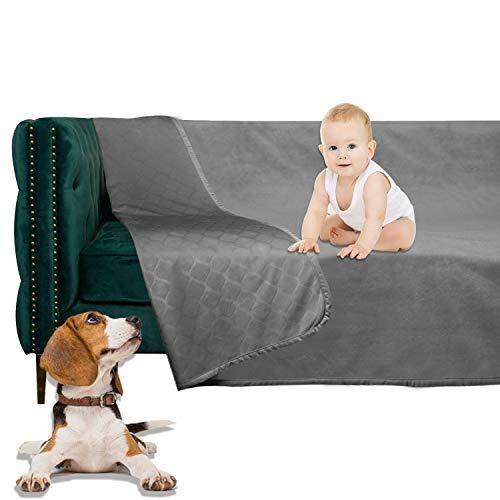 W-ZONE Waterproof Dog Bed Cover Pet Blanket for Furniture Bed Couch Sofa Reversible Dark Grey+Grey 5282 (5282, Dark Grey+Grey)