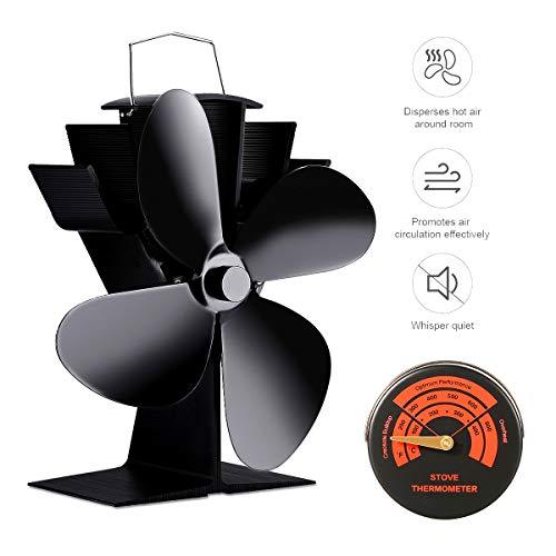 Ventilator für Kamin Holzöfen Öfen mit 4 Flügel Stromloser KaminVentilator mit Ofenthermometer Ofenventilator für Feuerstelle Kaminöfen (4 Flügel Ventilator Set)
