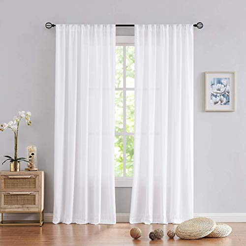 """Fmfunctex White Sheer Curtains for Bedroom 96""""-Long Semi Sheers with Total Privacy Chiffion Window Treatment Set Rod Pocket Window Drapes 2 Panels"""