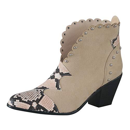 MOTOCO Stiefel für Frauen Damen Leopard Stiefeletten Fashion Pointed Blocky Chunky Heel Suede Booties(39 EU,Beige)