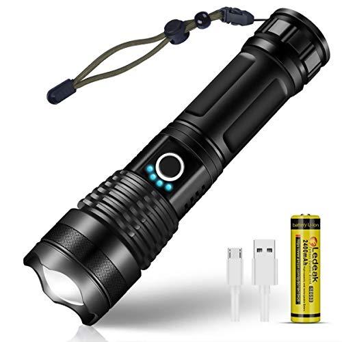 Ledeak Linterna LED Recargable, Super Brillante CREE XHP50Alta Potencia 3000 Lumens Táctica Linternas, 5 Modos USB Linterna Militar Impermeable para Ciclismo Camping, Con 18650 Batería