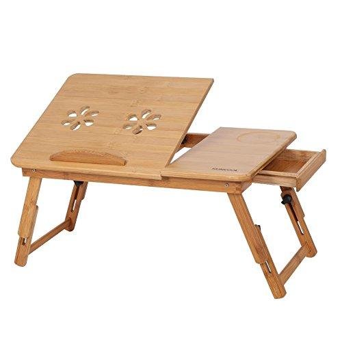 Escritorio de bambú para cama, bandeja de ordenador portátil, soporte para servir el desayuno, bandeja de cama, mesa de regazo, ajustable y plegable con tapa abatible y cajón