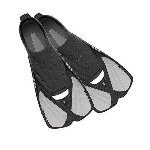 Barbatanas curtas Aqualine Deep Blue Gear para snorkeling, natação e mergulho, tamanho 5-6, platina
